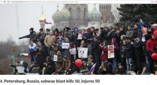 Washington Times Uses Photo of Protests for St. Petersburg Metro Blast Article