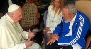 Pope Francis grieving Fidel Castro's death